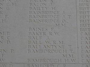 BAKER R.W. Thiepval inscription