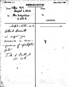 Army Form C.348 Memo dated 15 September 1914
