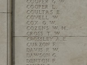 CROSS T.W. Inscription Tyne Cot