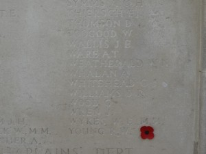 WEATHERALD W.N. TYNE COT MEMORIAL Inscription
