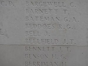 BELL J. Inscription Menin Gate Memorial
