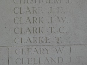 CLARK T.C. Inscription Arras Memorial
