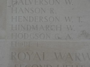HODGSON G.A. Inscription Vis-en-Artois Memorial