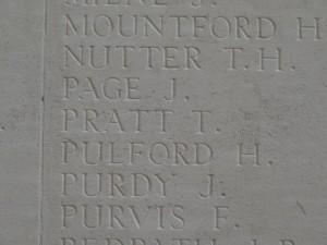 PRATT T. Inscription Thiepval Memorial
