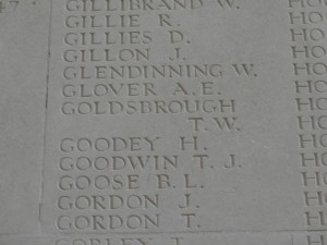 GOLDSBROUGH T.W. Inscription Thiepval Memorial