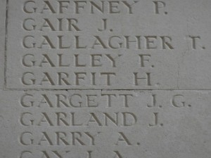 GARGETT J.G. Inscription Thiepval Memorial