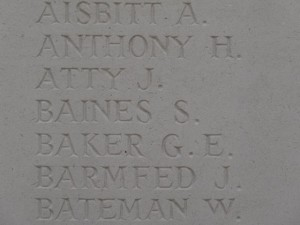 BAINES S. PLOEGSTEERT MEMORIAL Inscription
