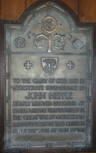 JOHN HEPPLE Memorial Plaque