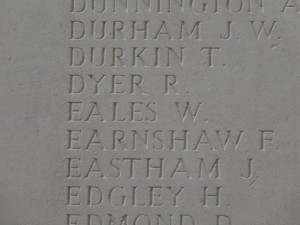 EALES W. Thiepval Inscription