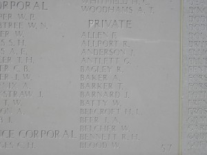 BAGLEY R Inscription Helles Memorial