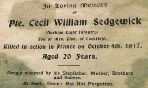 SEDGEWICK C.W. Memorial Card