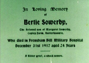SOWERBY B. Funeral Card