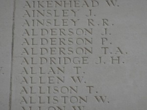 ALDERSON T.A. Inscription Thiepval Memorial