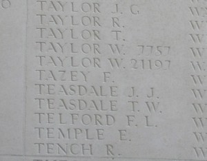 TAZEY F. Inscription Thiepval Memorial