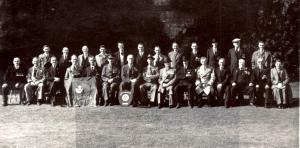 24 September 1950 DLI Reunion Brancepeth Castle T. Rowlandson seated LHS behind DLI flag