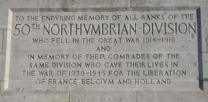 50th Northumbrian Division Memorial Inscription