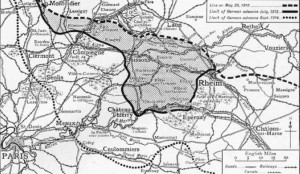 Map to show the Aisne 1918