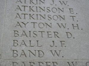 BAISTER D. Inscription Soissons Memorial