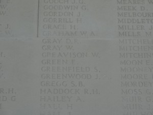 GREAVISON W. Inscription Arras Memorial