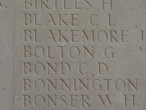 BOLTON G. Inscription Thiepval Memorial