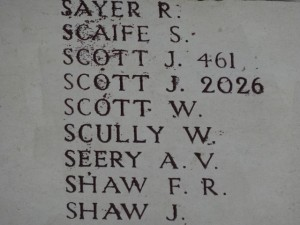 SCOTT W.  Inscription Menin Gate