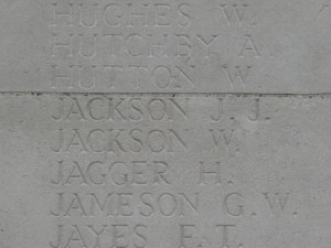 JACKSON J.J.  Inscription Pozieres Memorial