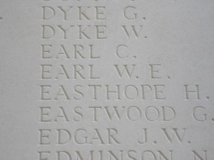 EARL W.E. Thiepval Inscription