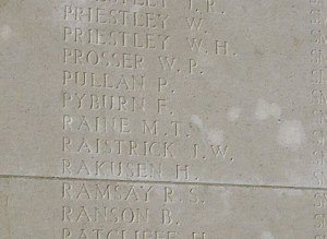 RAINE M.T. Inscription Tyne Cot Memorial