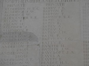 BAYLES R. Thiepval Inscription
