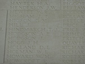 HINDMARCH T.J. Inscription  Thiepval Memorial
