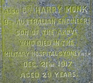 MONK Harry Family Headstone