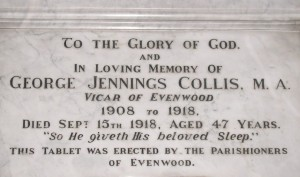 Commemorative Tablet to Rev. G.J. Collis in St. Paul's Church, Evenwood