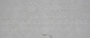 CANT J.T. Headstone detail